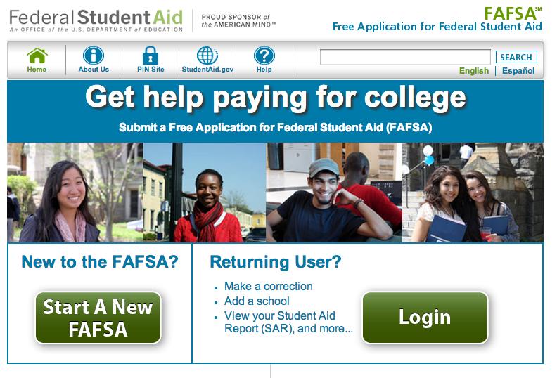 FAFSA Website Screenshot